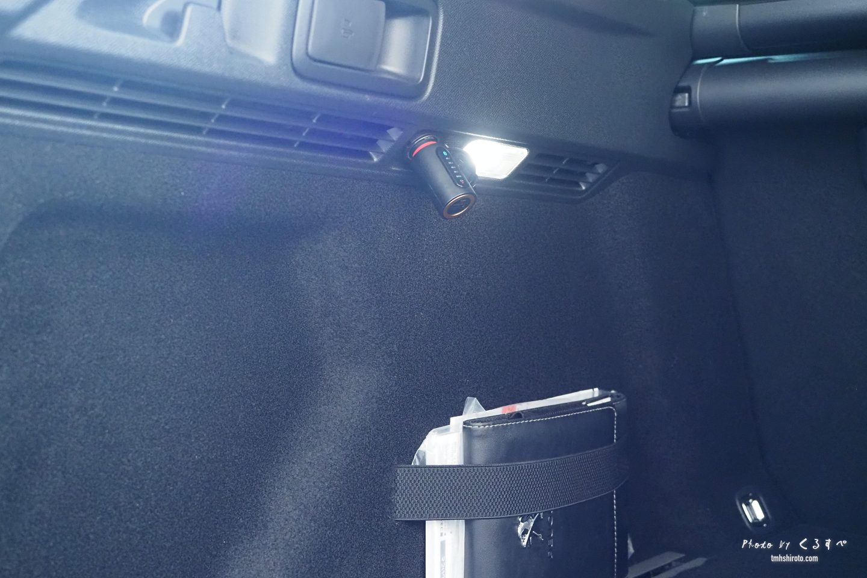 508SWのラゲッジルームのシガーソケットと車検証置き場