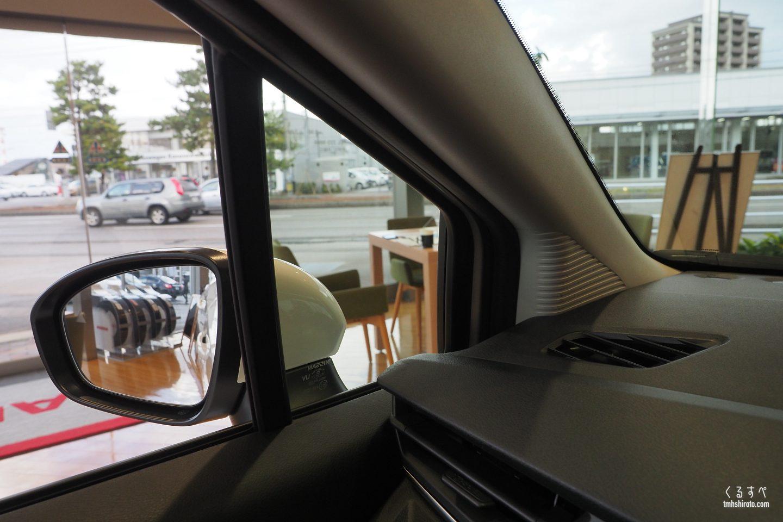 日産ノートe-POWER XのAピラー小窓からの視界