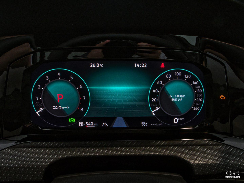 ゴルフ8のデジタルメータークラスター(速度計表示状態)
