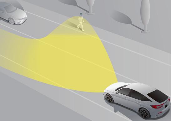 新型シビックハッチバックEXのアダプティブドライビングビーム動作イメージ